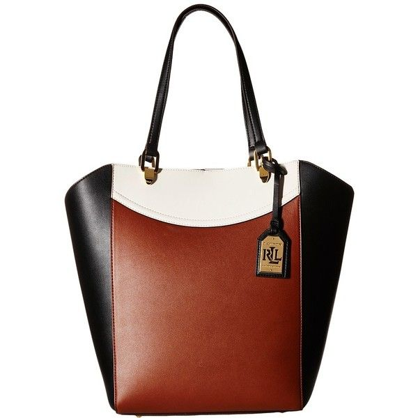9838c474af LAUREN Ralph Lauren Lexington Tricolor Tote (Bourbon Black Vanilla)...  ( 158) ❤ liked on Polyvore featuring bags