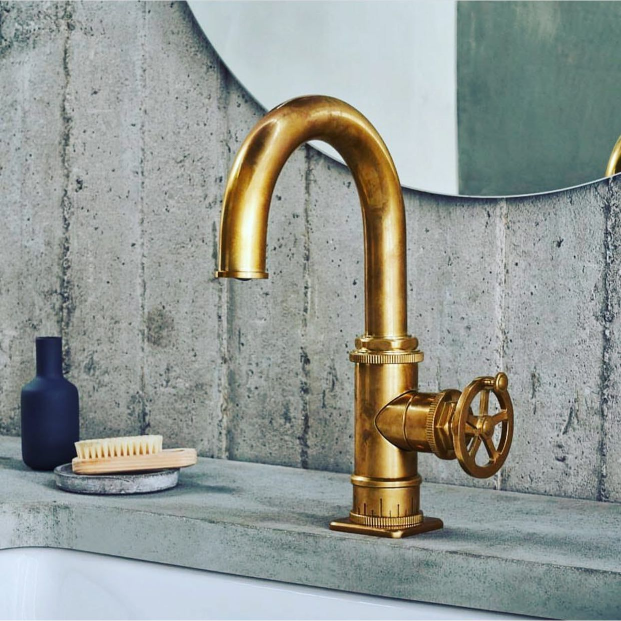 Steampunk Bay Single Hole Faucet In Burnished Brass Faucet Lavatory Faucet Industrial Style Bathroom [ 1241 x 1241 Pixel ]