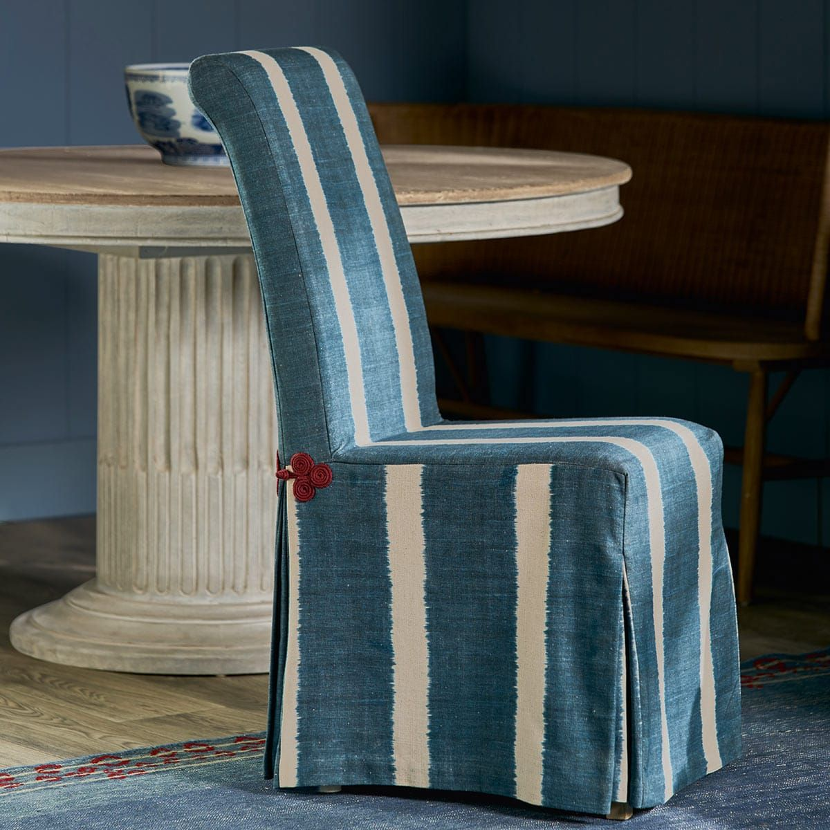 Ikat Stripe Loose Cover For Echo Dining Chair Dining Chairs Striped Dining Chairs Slipcovers For Chairs
