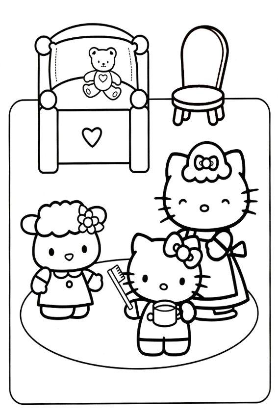 Brushing Teeth Time Hello Kitty Colouring Pages Hello Kitty Coloring Kitty Coloring