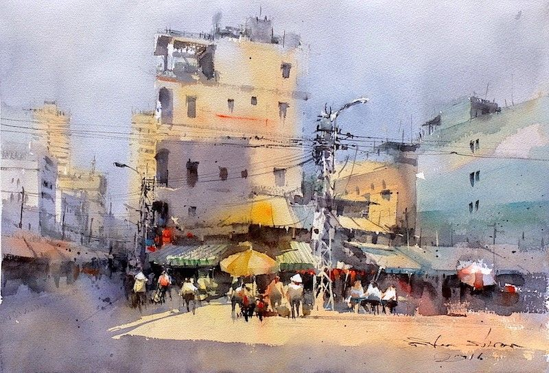 Direk Kingnok Watercolor Artist Saigon Chinatown 2 35 X 50 Cm