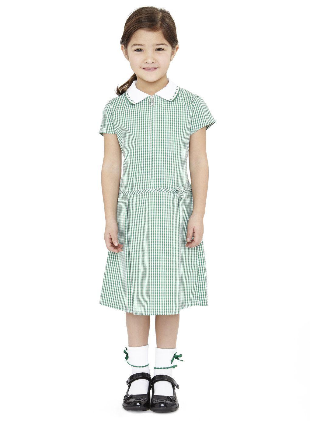 Junior Girls Bottle Green Zipped Gingham School Dress - BHS | Kids ...