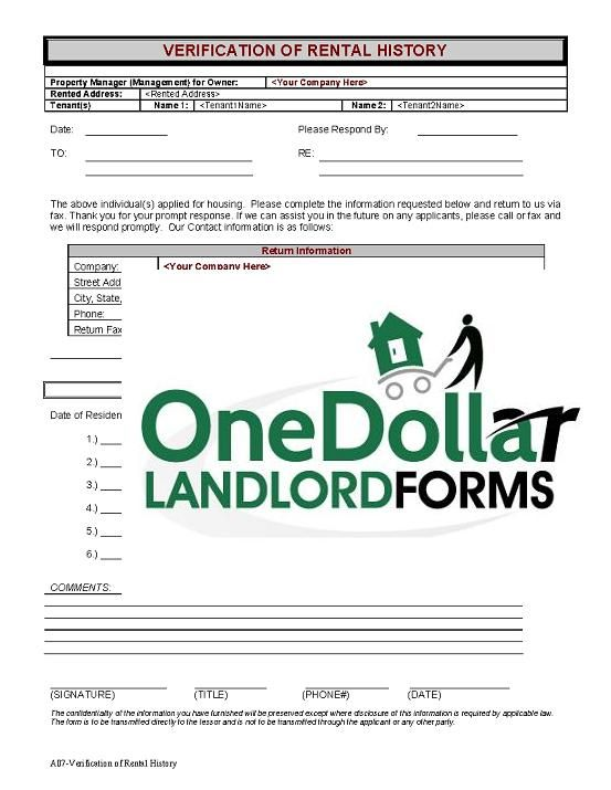 Printable Sample Rental Verification Form  Real Estate Forms