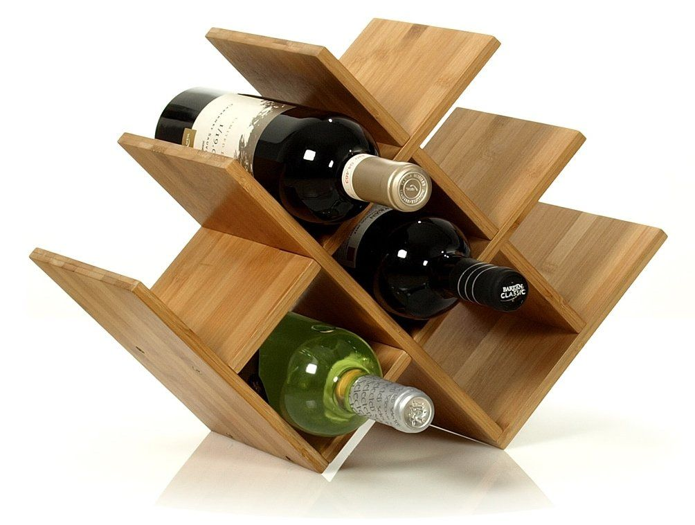 W Shape 8 Bottle Tabletop Wooden Wine Rack