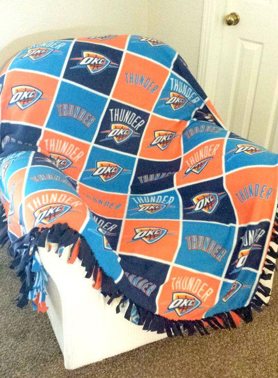 NBA Oklahoma City Thunder Block Blanket   Custommade Fleece Blanket    Choice Of NoSew Or MachineSewn