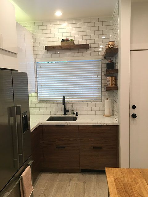 This IKEA kitchen has RINGHULT doors for the wall cabinets, walnut ...