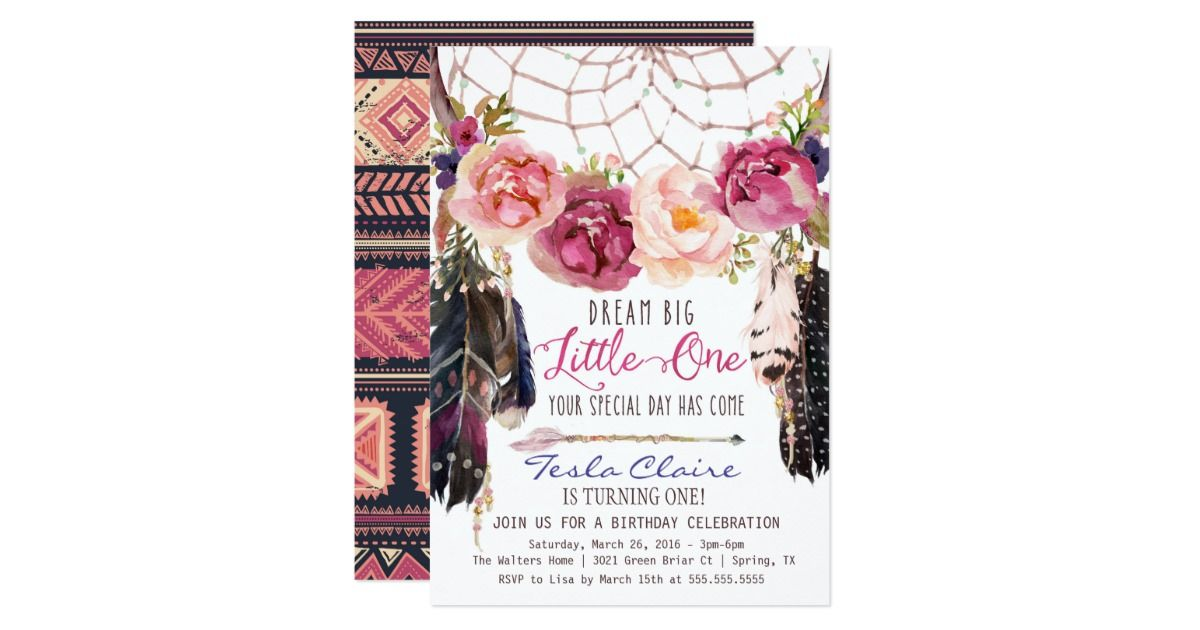 first birthday invitation template india%0A This gorgeous first birthday invitation with watercolor florals  a  beautiful dreamcatcher and whismical text is