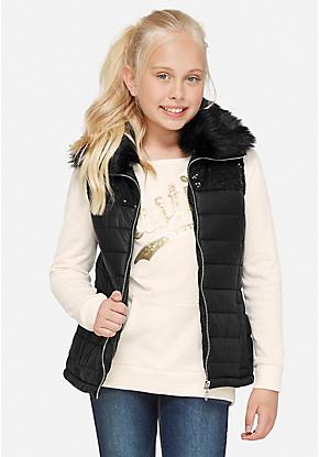 f0017438377b Sequin Faux Fur Vest