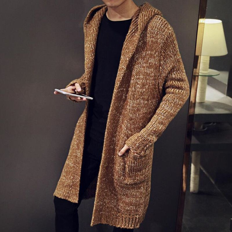 6abc13955 Mens Cardigans Sweaters Autumn Winter Loose Long Big Size Jumpers ...