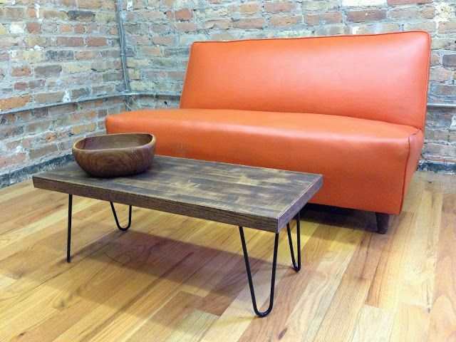 shark gravy: recycled butcher block coffee table on hairpin legs