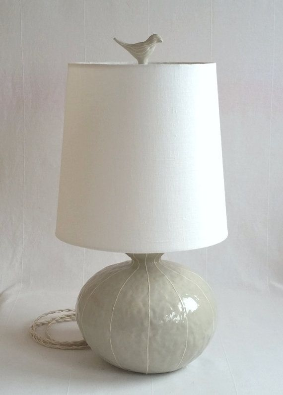 Ceramic lamp medium size lamp round shape table lamp modern handmade base linen shade topped with small bird finial ooak