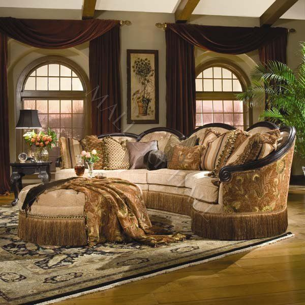 Tuscan Style Couches | curved traditional loveseat | click ...