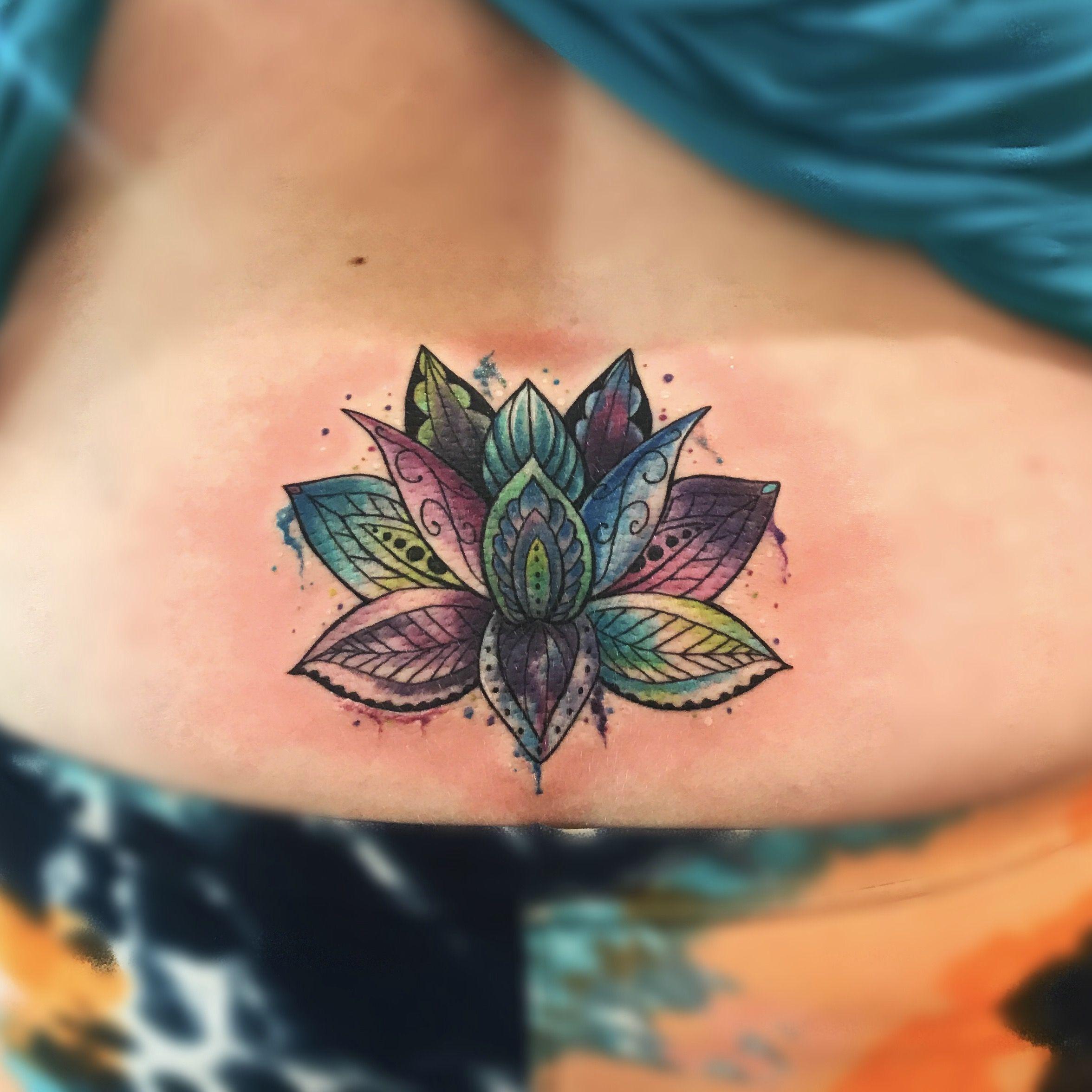 Lotus Mandala Watercolor Coverup Tattoo Tattoos By Mary Hankins