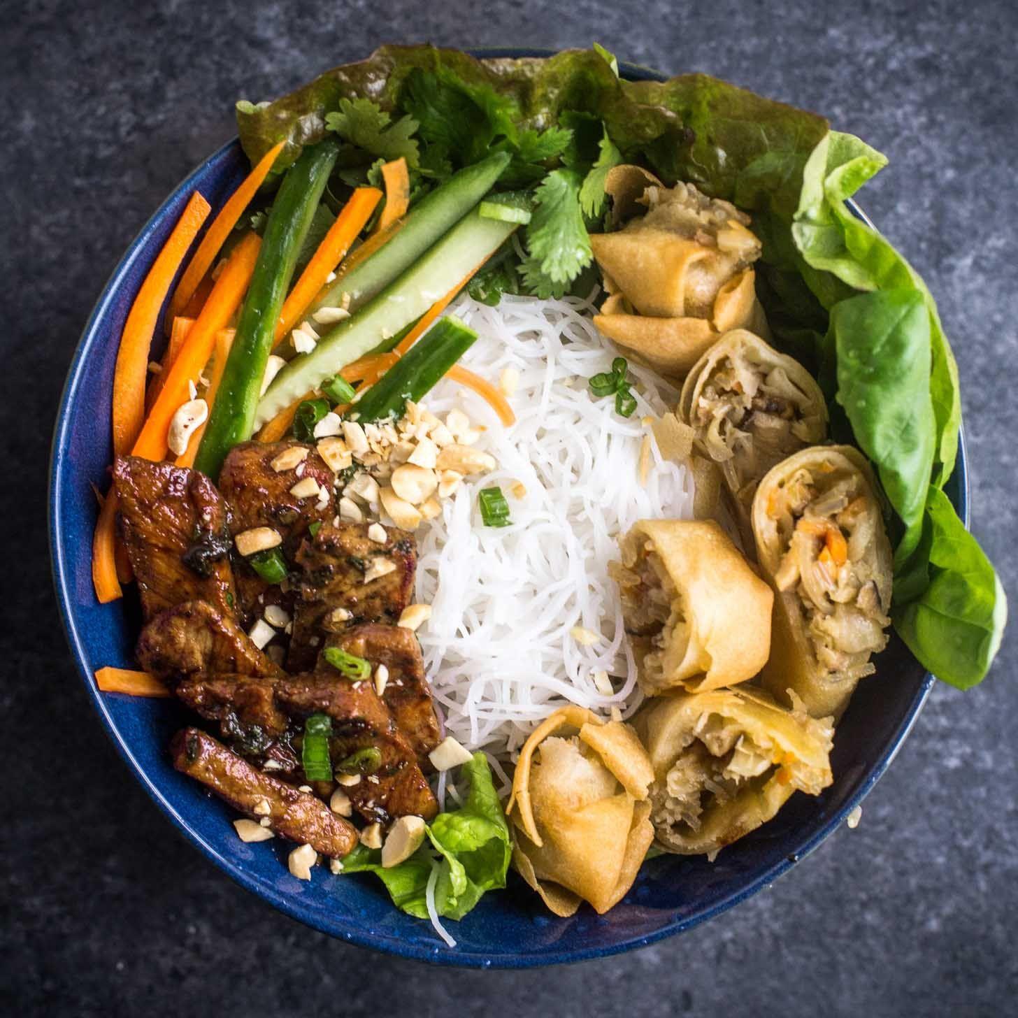 Vietnamese Noodle Bowls Bun Thit Nuong Cha Gio Recipe Noodle