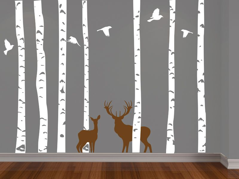 Birch Forest, Deer And Birds Vinyl Wall Decal Younger One Wanted This With  The Mythical