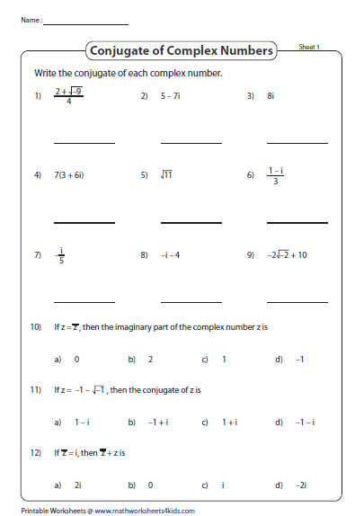Find The Conjugate Complex Numbers Number Worksheets Algebra