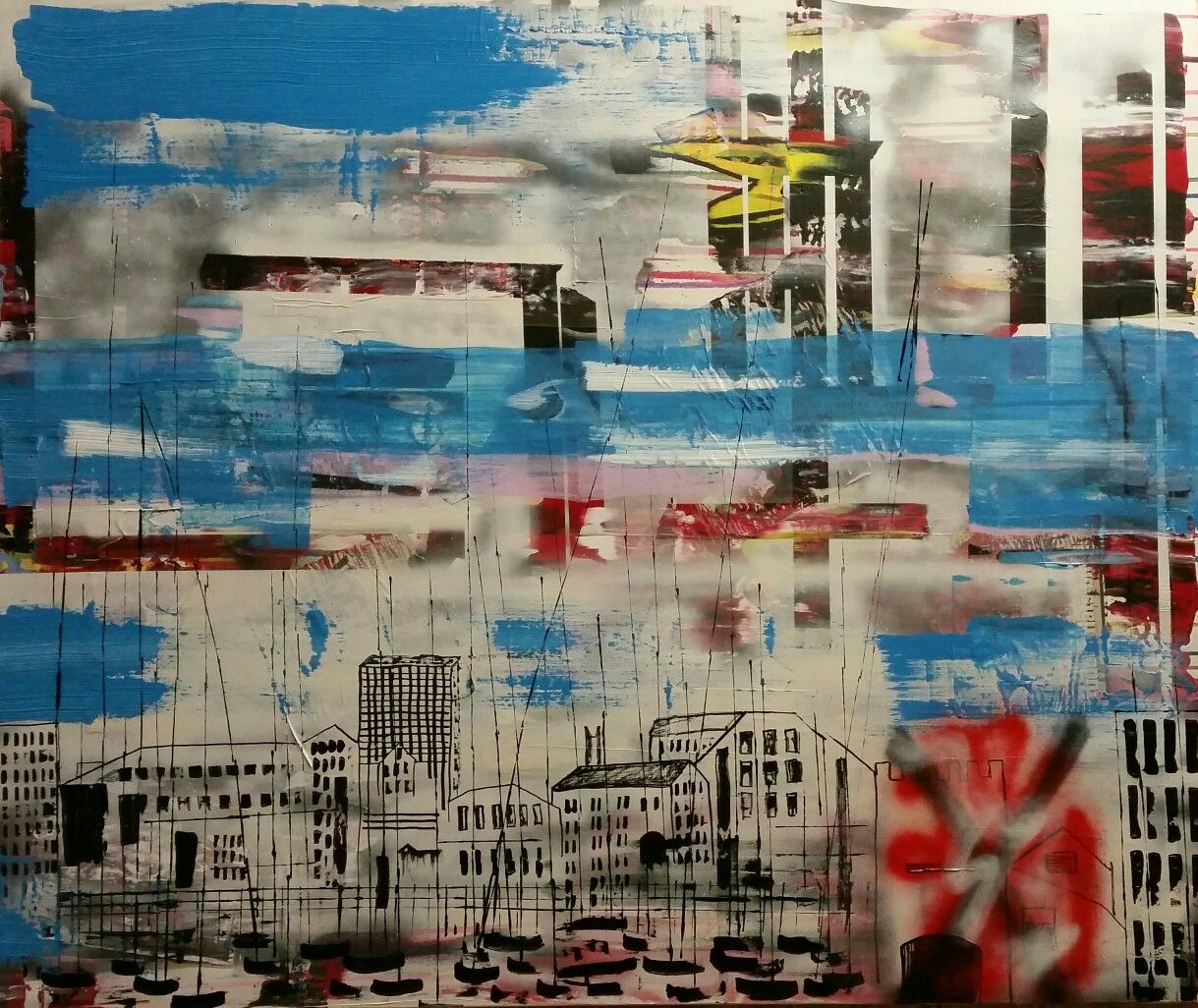 Abstract City Scape Painting... The Cooperage in Plymouth... once a popular live music venue now stands empty and derelict