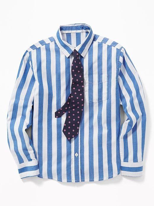 302ea7ffd106ef Old Navy Boys' Built-In Flex Dress Shirt & Tie Set Blue Stripe/Smiley Face  Tie Size XXL