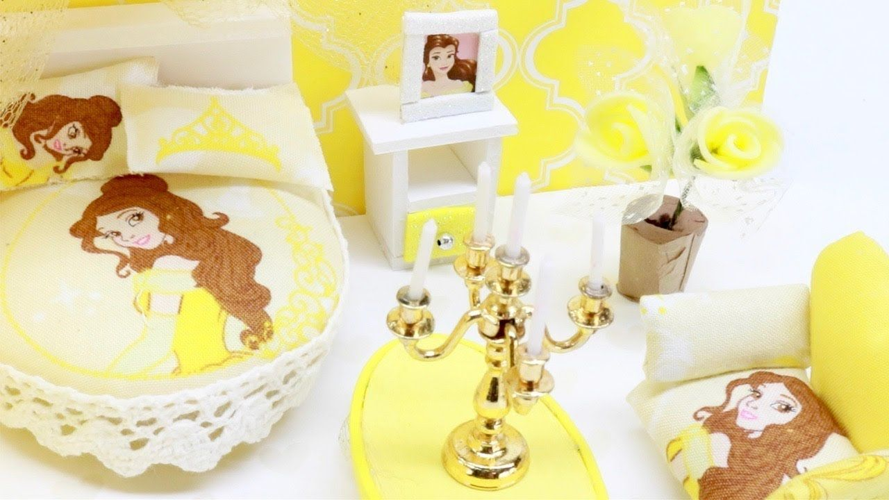 Superbe Learn How To Make This Miniature Dollhouse Disney Princess Bedroom Belle  With Princess Accessories Such As A Bed, Table, Chair, And More!