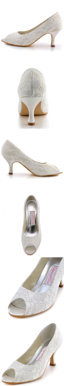 3cbdc7e8c628 ElegantPark WP1403 Peep Toe Women s Pumps Rhinestones Mid Heel Wedges Knot  Satin Wedding Bridal Shoes White US 9