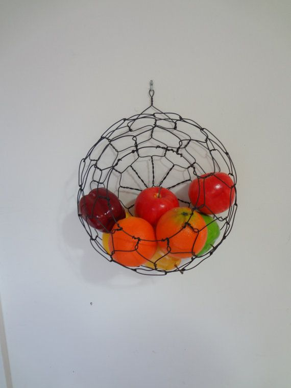 Wall Hanging Half Round Wire Basket by CharestStudios on Etsy, $49.00
