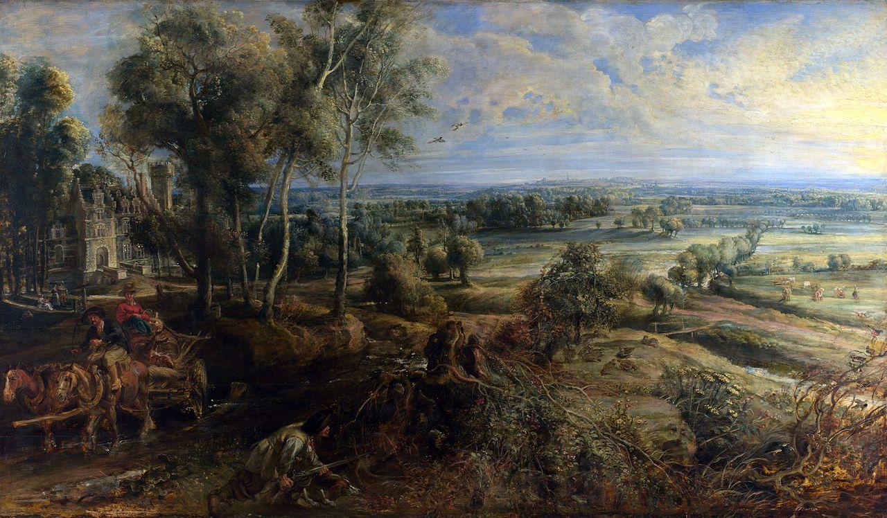 Peter Paul Rubens - Vista de Het Steen al amanecer (1636). Barroco. Óleo sobre tabla de 131,2 x 229,2 cm. The National Gallery (Londres), U.K.
