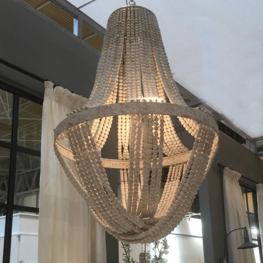 White Washed Tall Wooden Bead Chandelier With Distressed Metal Detail Luna 2