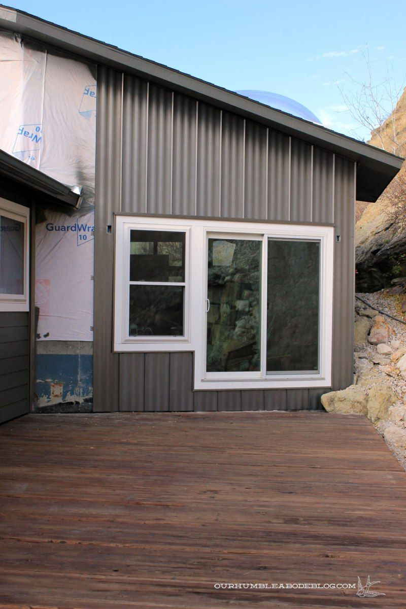 Steel siding with a board and batten look