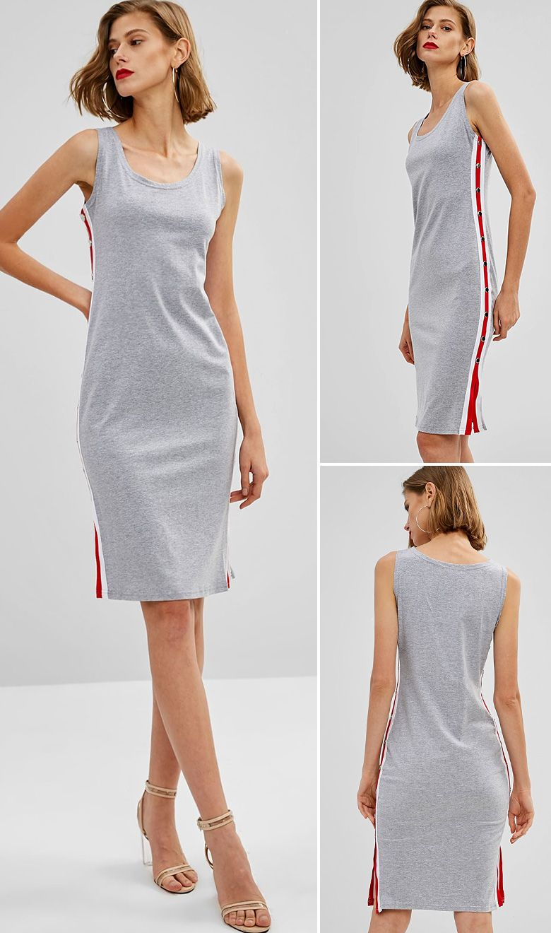 Slits Side Striped Sleeveless Dress Light Gray Xl Cute Casual Dresses Casual Dresses For Women Casual Dresses [ 1320 x 780 Pixel ]