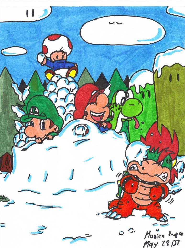 winter fun by Nintendrawer | Mario drawing | Winter fun, Mario