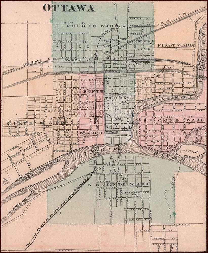 Ottawa Illinois Antique City Map Matted Original 1876 Antique