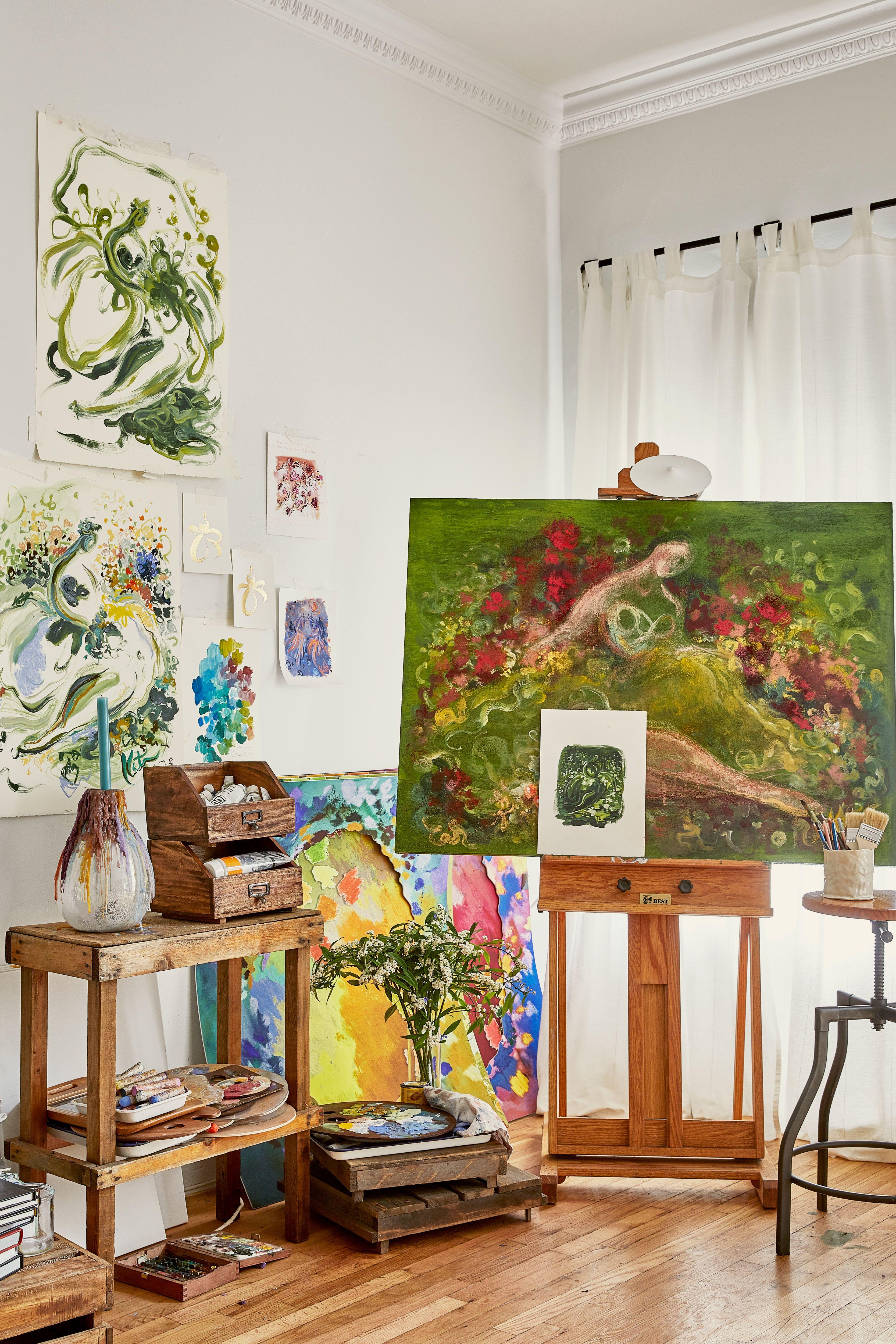 Katie Rodgers Artist Studio Tour NYC, Office Design Tips