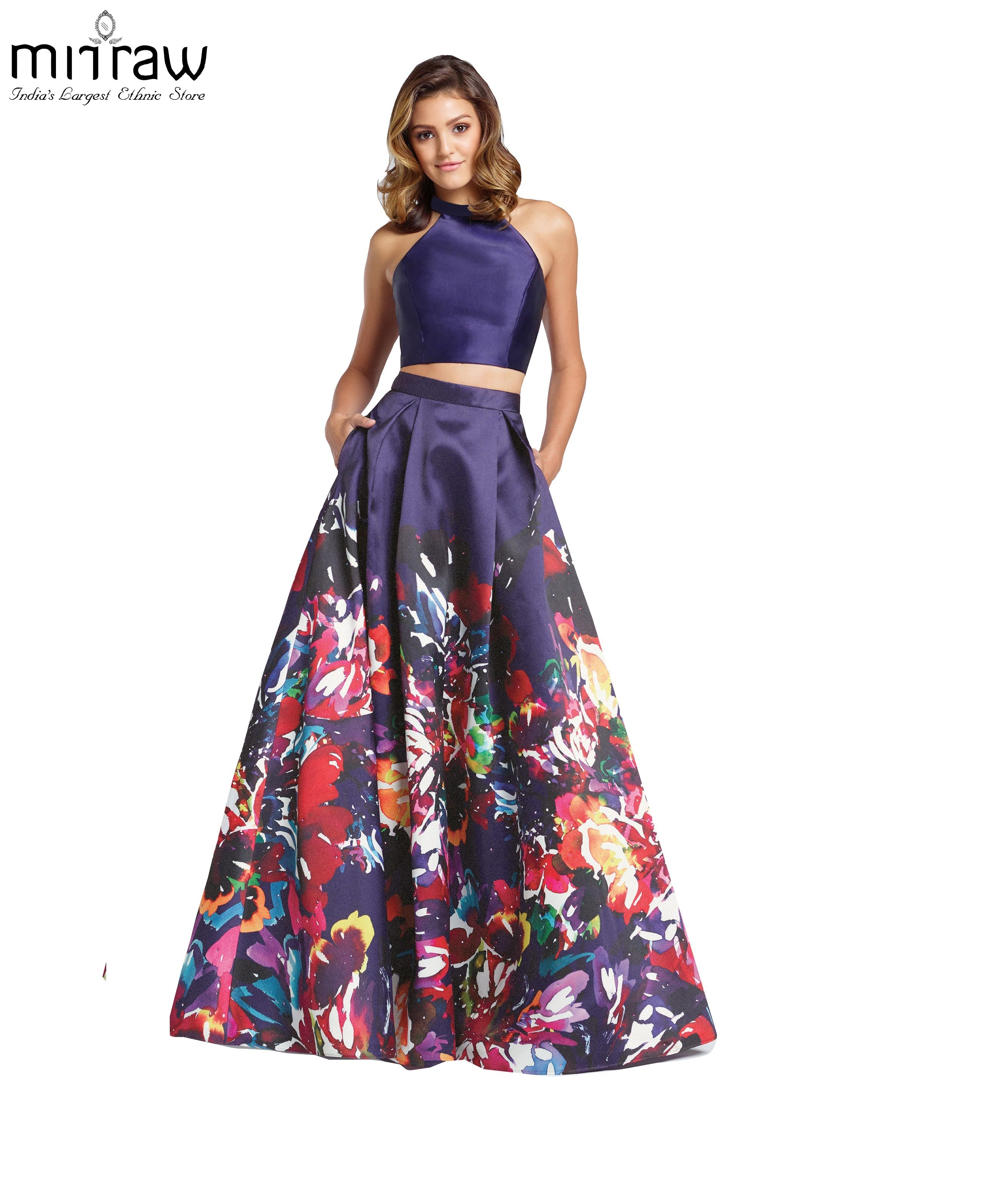 c3a87fc434d963 Multicolor printed satin semi stitched floral lehenga   Mirraw ...
