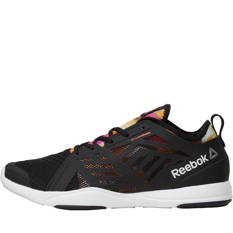53f4340f491 Reebok Womens Cardio Inspire Low 2.0 Training Shoes Black White Electric  Peach Graphic