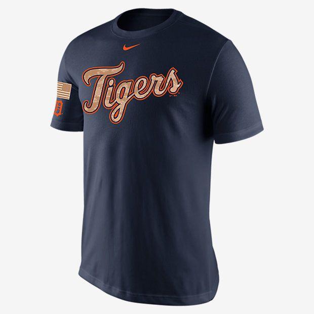 Detroit Tigers Nike Digital Camo Wordmark & Flag T-Shirt - Navy