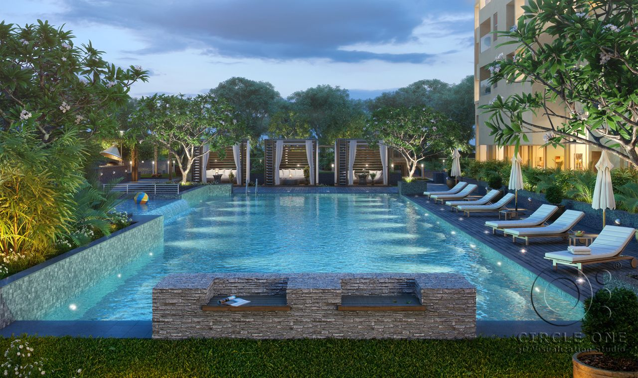 3D Render of Rustomjee AZZIANO swimming pool