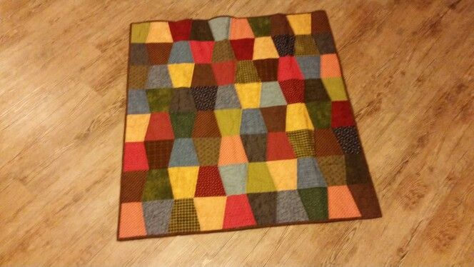 """Tumbler quilt I made from scrappy 5"""" squares"""