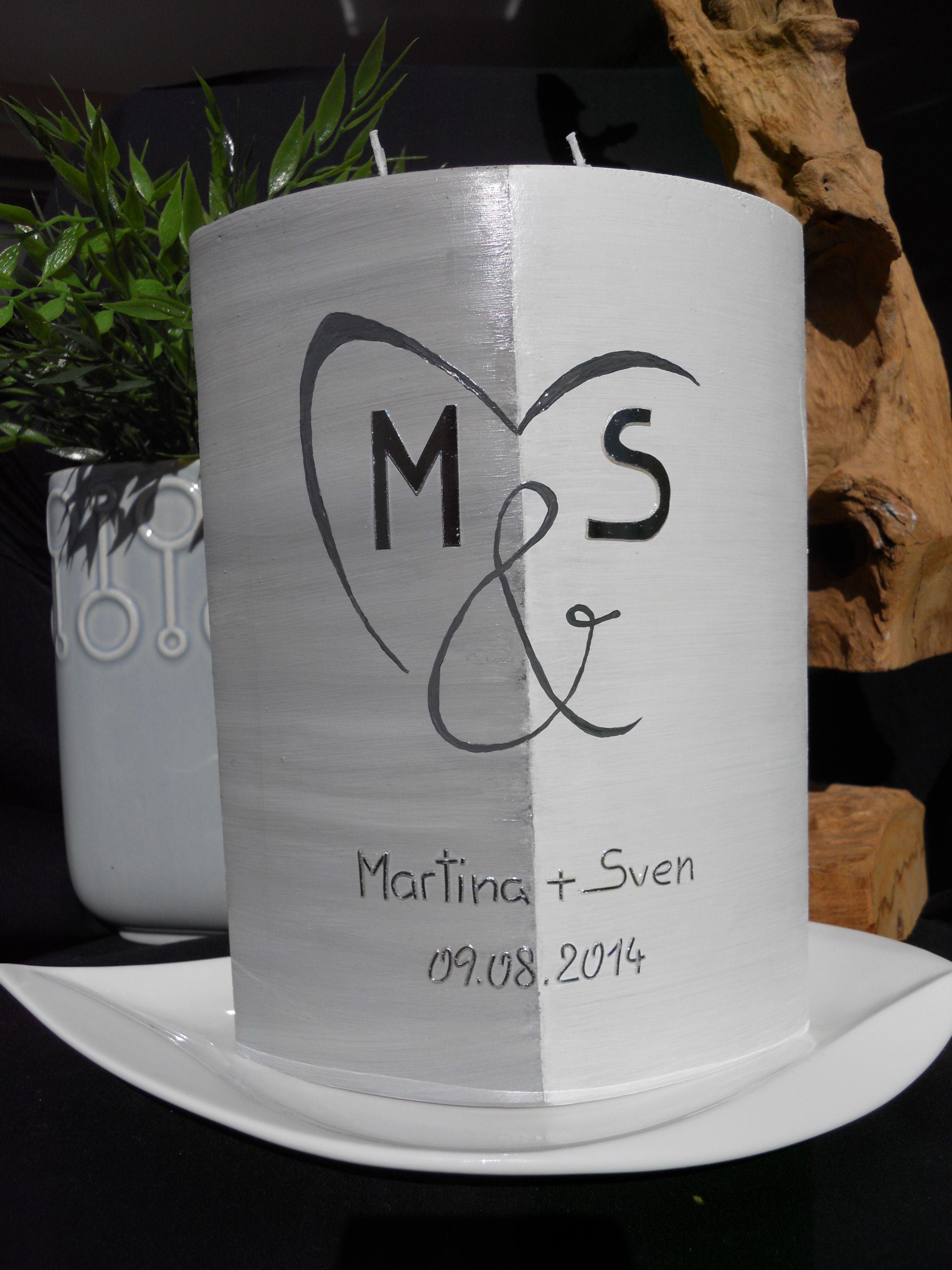 Hochzeitskerze Hochzeit schlicht modern Brautkleid Kerze