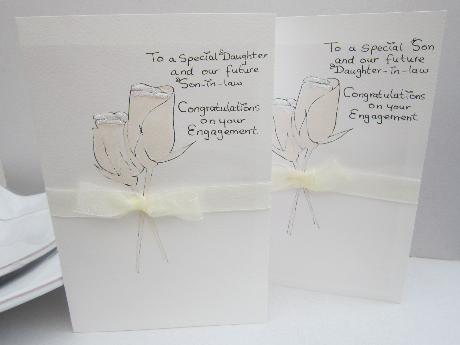 engagement card daughter card son card hand painted daughter