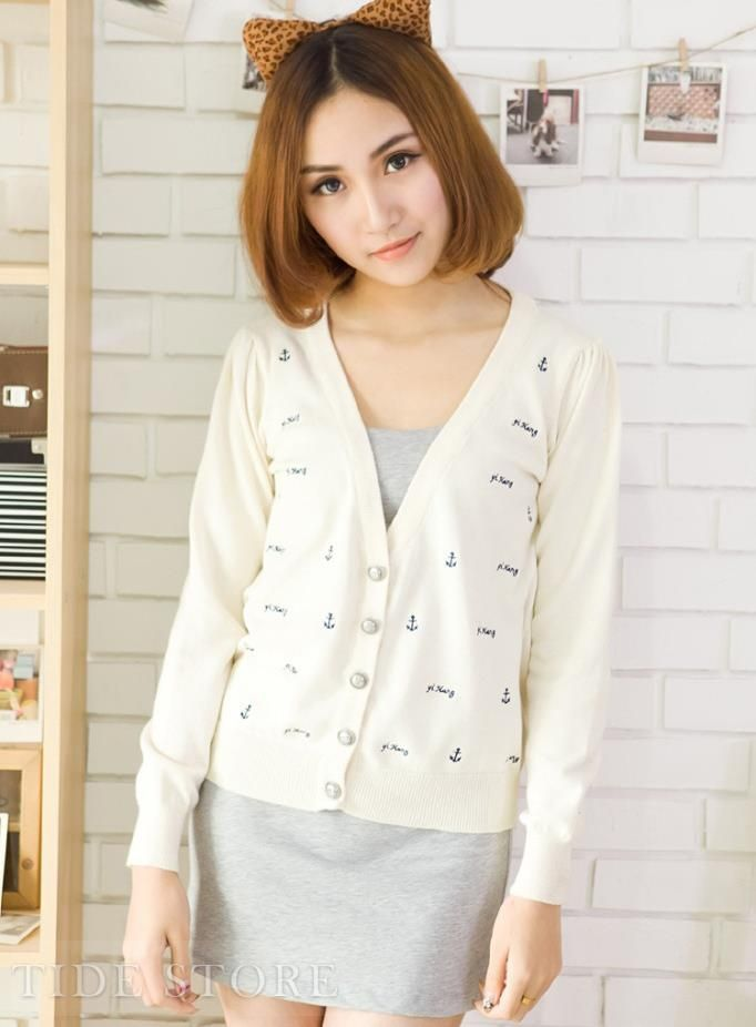 Impressive Pure Color Cotton Knit Embroidery Cardigan | Embroidery ...