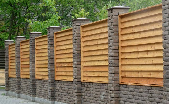Image result for wood fence ideas | Brick columns, Fence ...