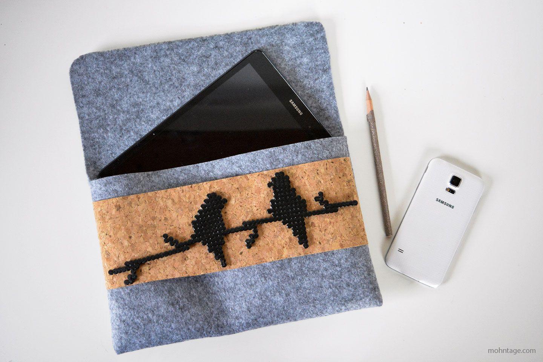Tablet Tasche mit Bügelperlen Patch nähen Crochet ipad