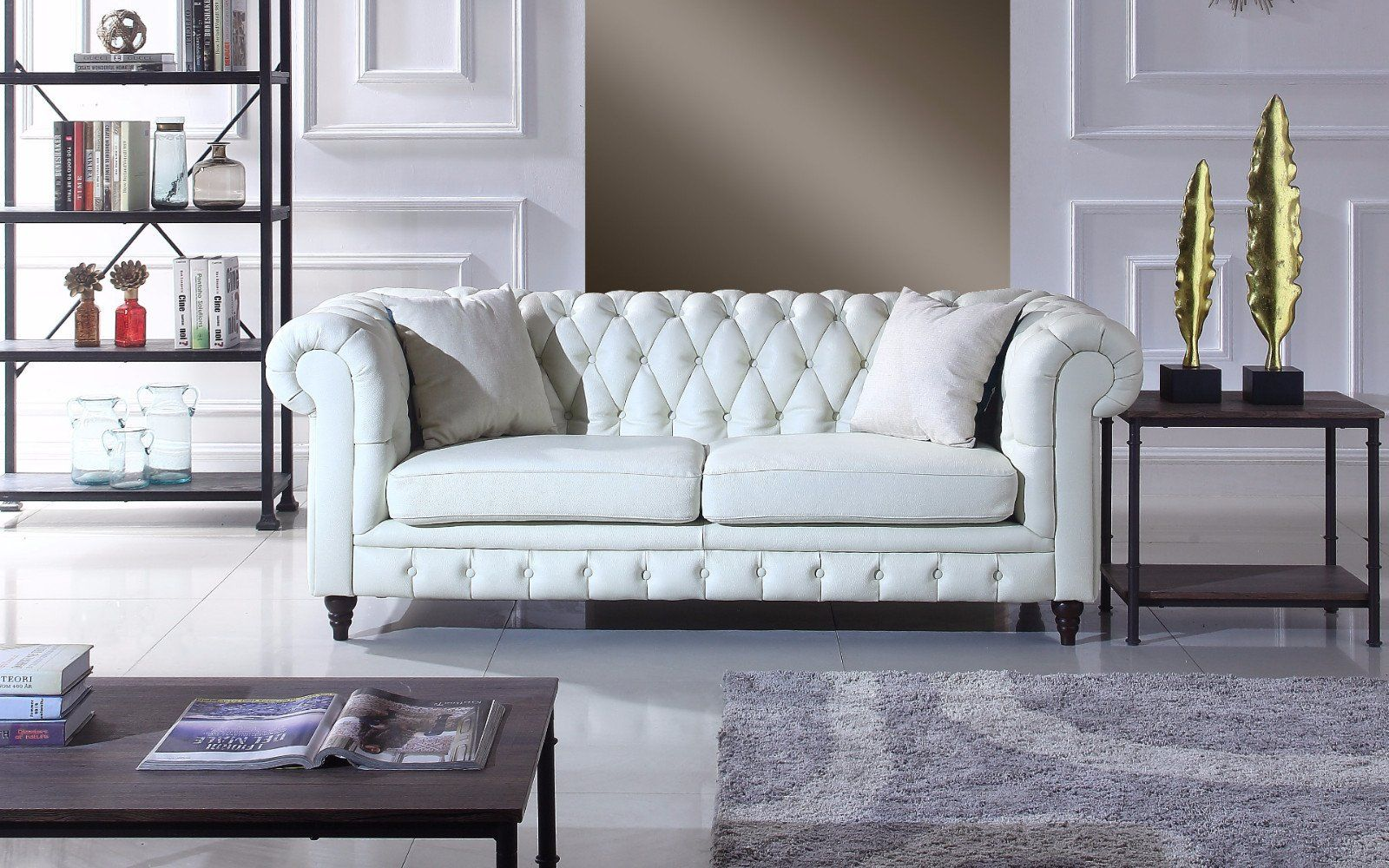 crawley leather chesterfield sofa | leather chesterfield