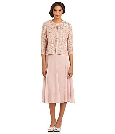 46da01699ba Grandmother of the Bride Alex Evenings Lace and Chiffon Jacket Dress   Dillards