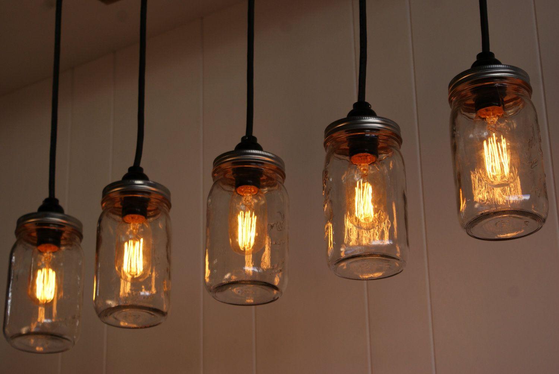 Mason Jar Lights With Reclaimed Wood And 5 Pendants R 1434