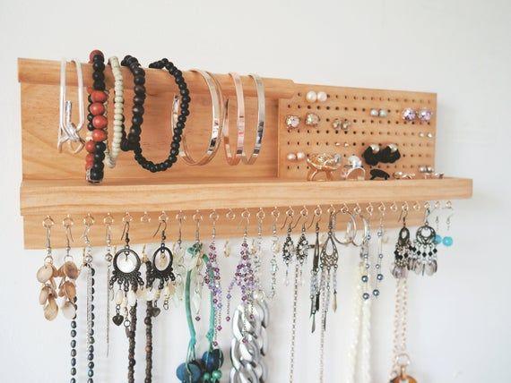 Jewelry Organizer Earring Holder Jewellery Organiser Etsy Organization Wall Hanger