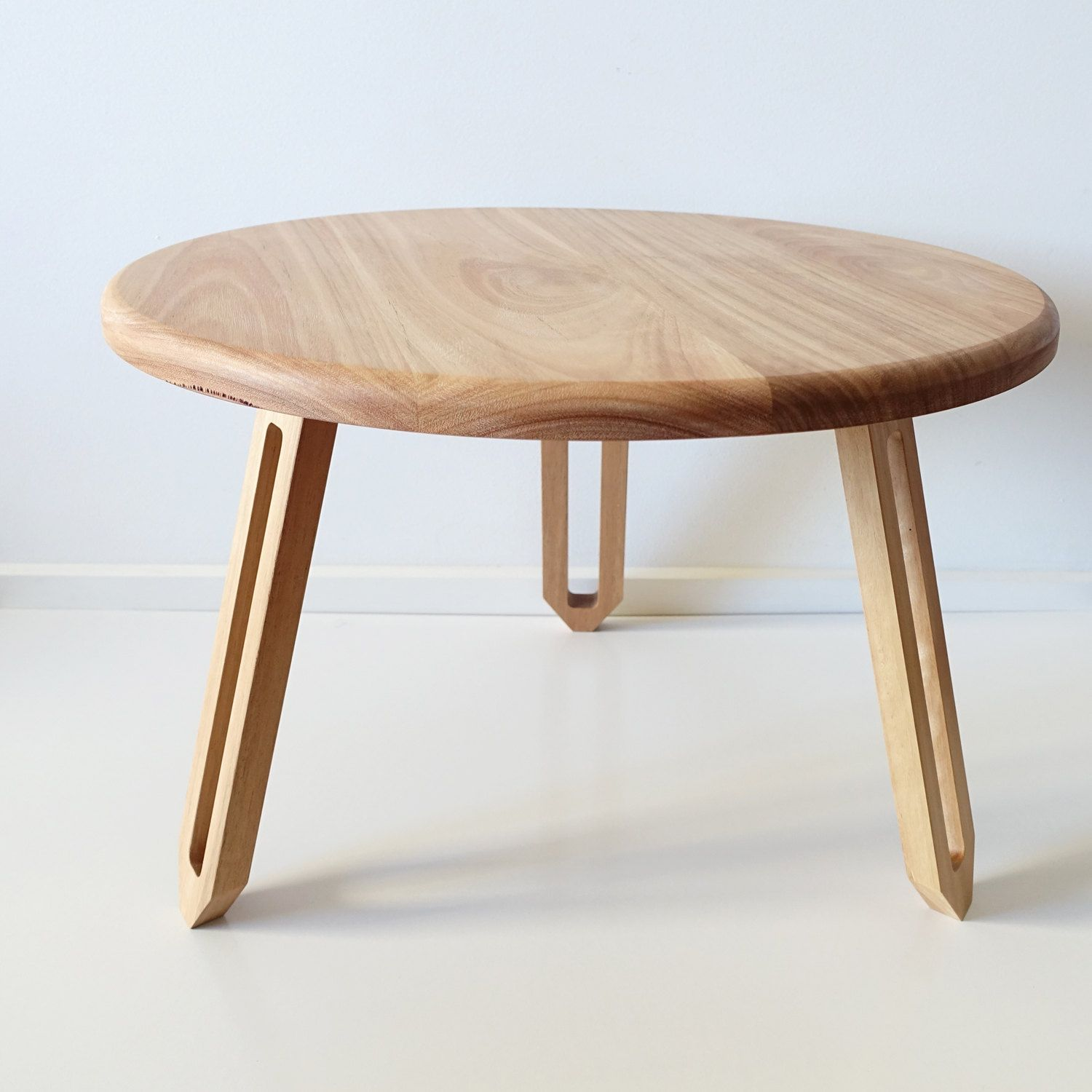 Low Round Wood Coffe Table With Folding Legs For Small And Narrow Living Spaces [ 1500 x 1500 Pixel ]