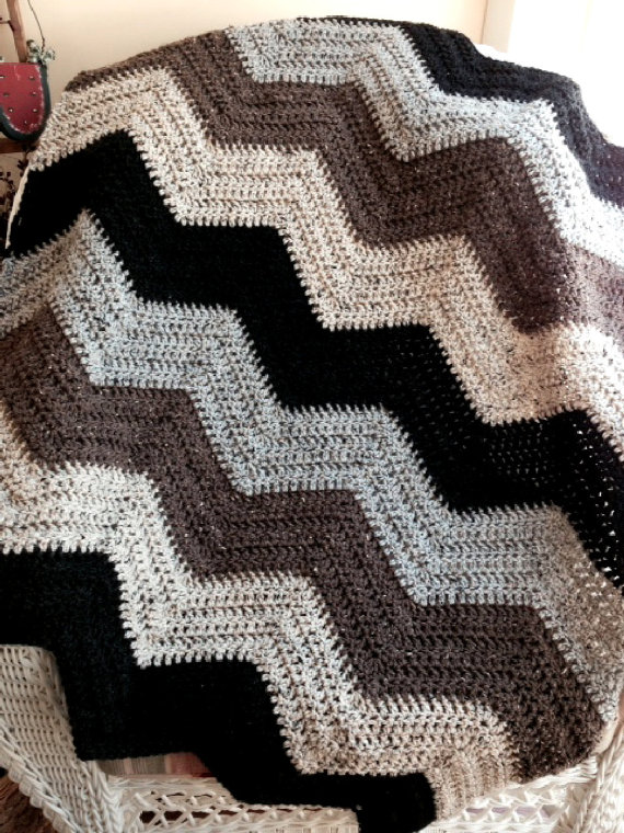 new chevron zig zag ripple baby blanket afghan wrap crochet knit ...
