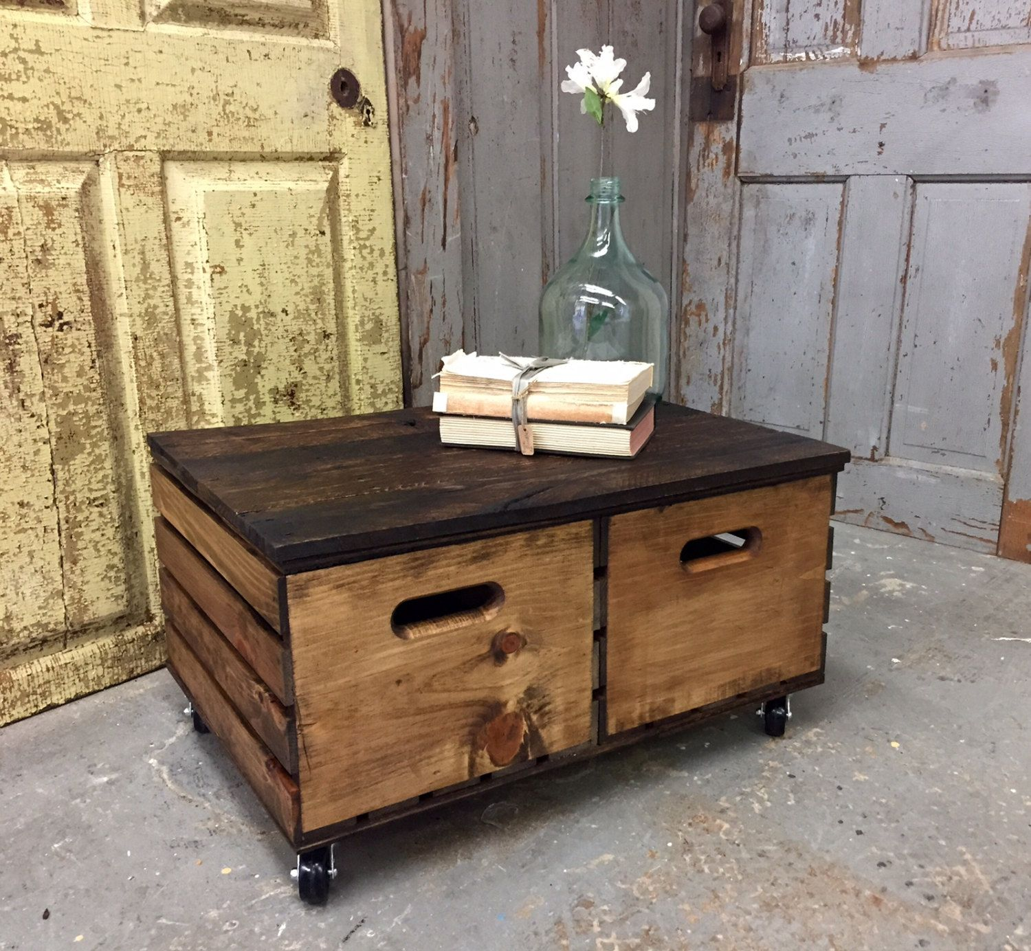 Crate Coffee Table, Side Table With Storage, Rustic Wood