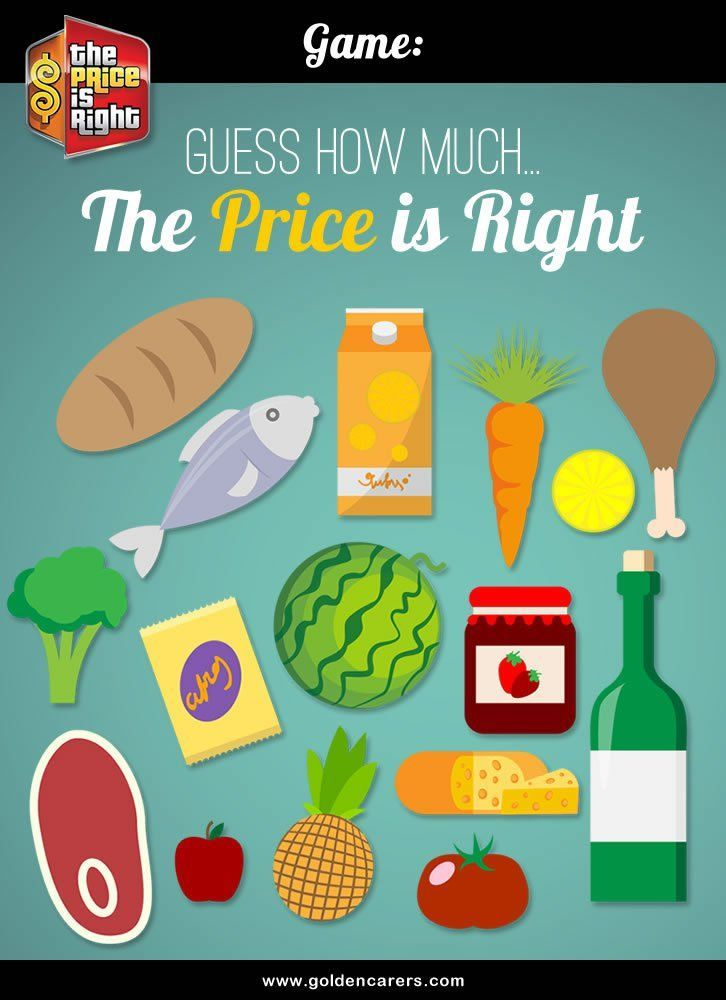 The Price is Right Game Nursing home activities, Price